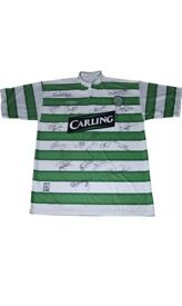 2003/04 Signed Celtic Double Winners Top, signed by 19 players including Larsson, Hartson & Petrov