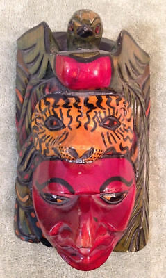 Hand Carved Wood Tiger Bird Turtle Face Mask Hand Painted Primitive Red Green