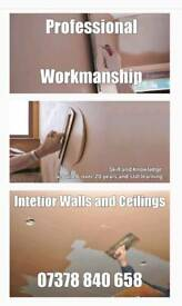 Interior plasterer (walls and ceilings)