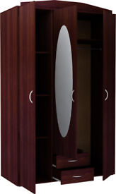 New Castle 3 Door 2 Drawer Mirrored Wardrobe - Wenge