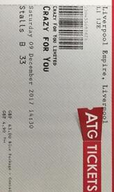 2 theatre tickets for crazy for you liverpool empire