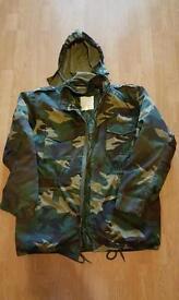 Mens camouflage hunting jacket, large.