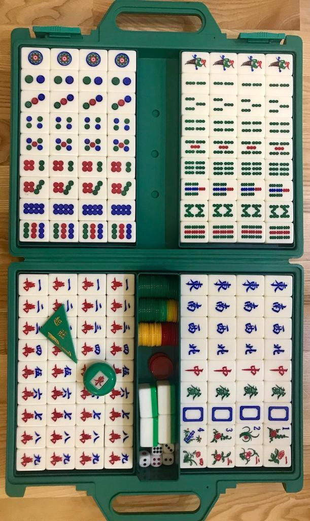 Mahjong full set case counters dice spare tiles Chinese game