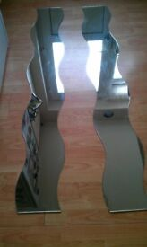 original matching pair of full-length curved mirrors