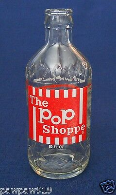 THE POP SHOPPE SODA EMBOSSED CLEAR GLASS BOTTLE 10 OZ PAINTED LABEL VINTAGE