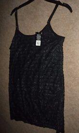 Women's/ladies black Primark summer/beach spaghetti/thin strap vest top