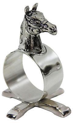 Corbell England Silver Horse Figural Napkin Ring Set 4 Equestrian Kentucky Derby