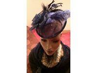 Ladies blue cap fascinator