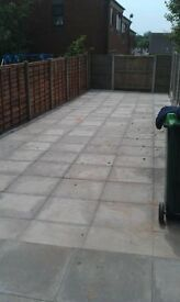 SLABBING - FENCING - DECKING - TURFING - TREE WORK - GARDEN CLEARANCES - FULL LANDSCAPING SERVICE .