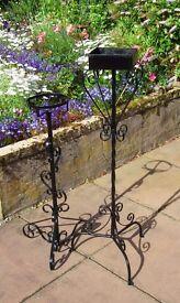 2 wrought Iron FLOWER STANDS - vgc see photos, flower display, wedding, church, houseplants