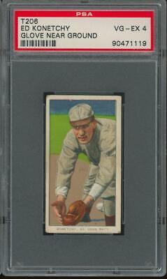 1909 T206 Sweet Caporal Cigarettes Glove Near Ground Ed Konetchy VG-EX PSA 4