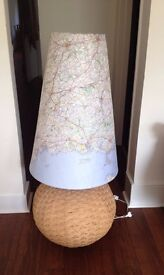 Wicker STYLE FLOOR LAMP with map lamp shade