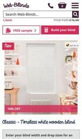 White Wooden slat blinds 50mm. New in box