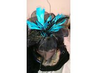 Fascinator in black and a jade blue -Scan over picture for details.