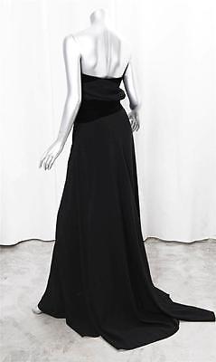 GIVENCHY Womens Black Velvet Trimmed Strapless Full Length Trail Long Dress S