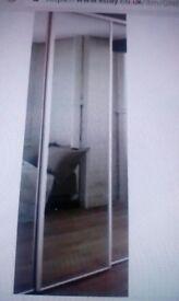 One mirrored glass wardrobe sliding door