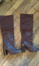 Over the knee leather high heeled boots, size 7