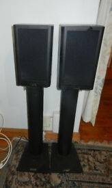Pair of Mission 760i speakers with sand-filled stands