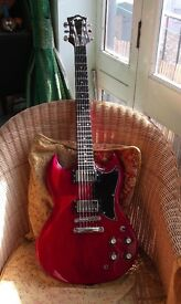 "BEAUTIFUL ASLIN DANE ""CIDERA"" SG COPY . GLUED IN NECK. CHERRY RED FINISH."