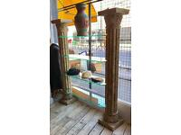 Graecian Style Columns With Glass Shelves