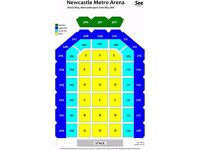 2 x KASABIAN SEAT TICKETS FIRST BLOCK BESIDE STAGE @ NEWCASTLE