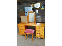 Solid Pine Dressing Table with Mirror and Stool
