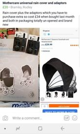 Mothercare universal rain cover with adaptors