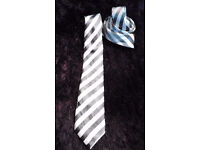 TM Lewin Silver Grey Striped Pure Silk Hand Made Men's Luxury Tie.