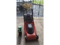 lawnmower and hedge trimmers