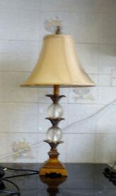 Art Nouveau Brass Lamp With Original Shade