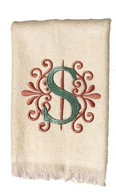 Embroidery Hand Towel (New White Monogrammed Hand Towel with Peach and Green Embroidery Design )