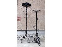 2 Flower / Plant STANDS, wrought iron, vgc see 8 photos - wedding, display, church, hall,