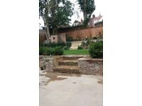 Block paving landscaping driveways turfing fencing Indian stone flagging walls artificial grass
