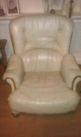 Free to collector green leather armchair