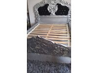 FRENCH ROCOCO SILVER CARVED DOUBLE BED WITH BLACK VELVET AND DIAMONTE STUDS