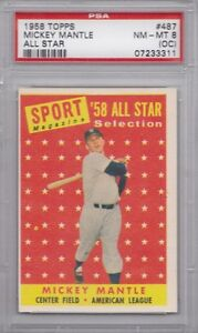 MICKEY MANTLE 1958 TOPPS # 487 PSA NM 8 Beautiful colors Razor Sharp Corners NC