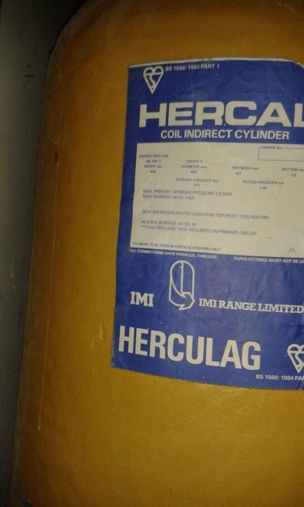 Copper hot water cylinder 117 litre. Indirect coil and electric ...