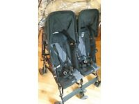 Maclaren double buggy black with raincover and one footmuff
