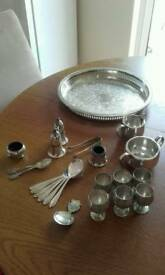 Silver played items plus solid silver mustard pot.