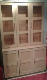 Beech display cabinet with lights