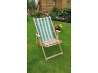 Striped blue and yellow deckchair