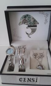 Censi Collection Dolphin Watch & Jewellery set Necklace and Earrings have not been worn