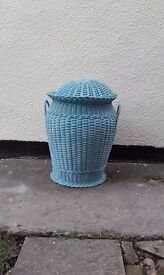 Blue round wicker laundry basket and draw unit