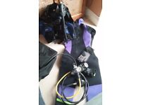 Assorted diving gear, including wetsuit