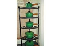 LE CREUSET 5 TIER CAST IRON STAND WITH PANS