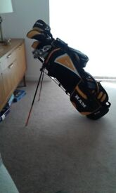 Full set of Ram carbon shafted golf clubs with bag and some accessories