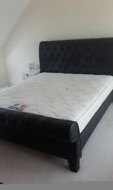 Lovely black leather super king bed and matress
