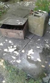 Ww2 military ammunition box and petrol can