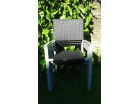 Woven garden chairs