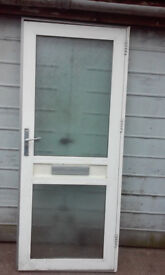 Aluminum front door with glass window